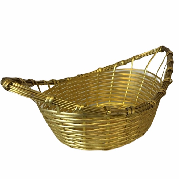 Vintage Small Brass Woven Basket